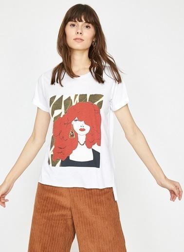 Koton Koton Ekru T-Shirt Ekru